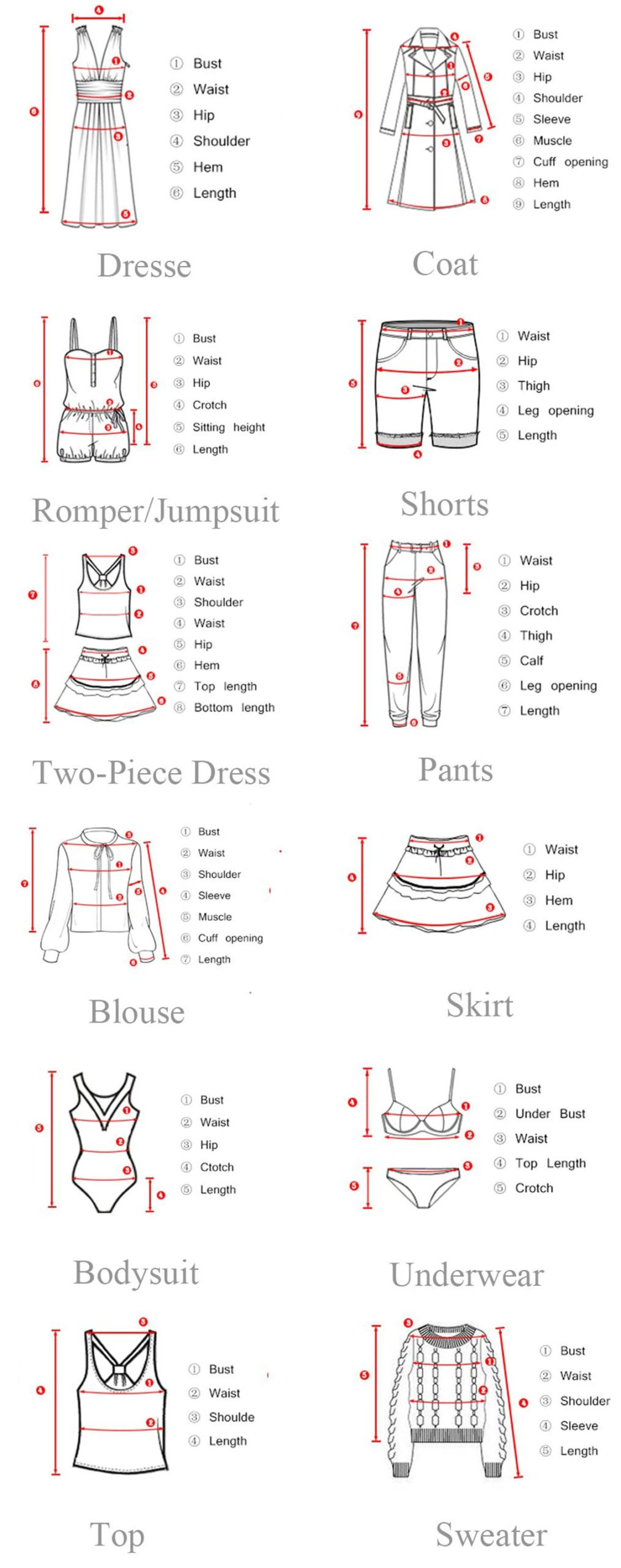 axiomFASHION size's guide