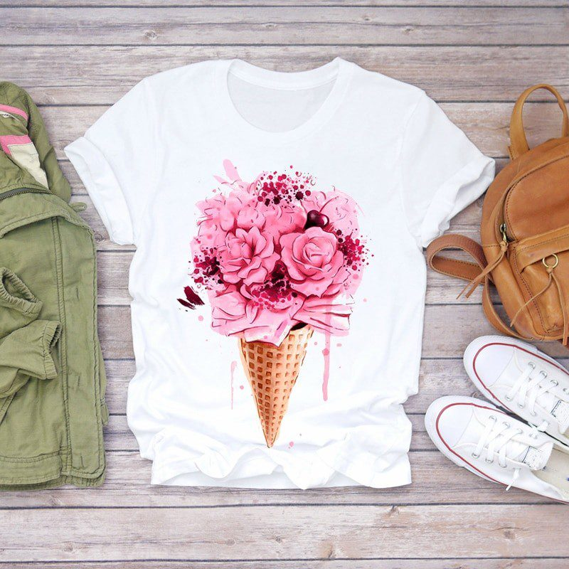 Summer Short Sleeve Graphic Floral Flower T-shirts