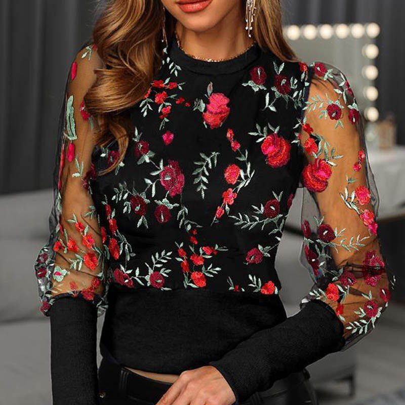 Floral Embroidery Mesh Sleeve Blouse shirts