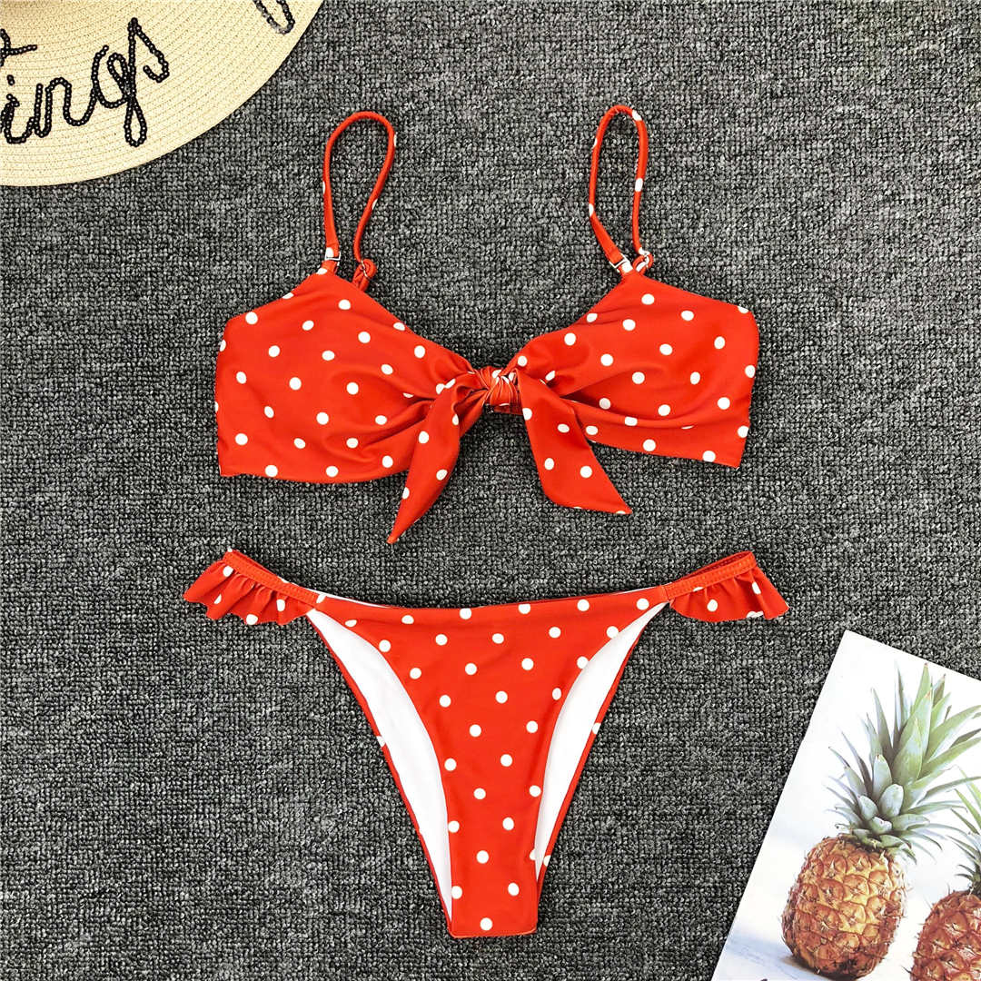 Blue Bow Polka Dot Two-piece Bikini Swimwear