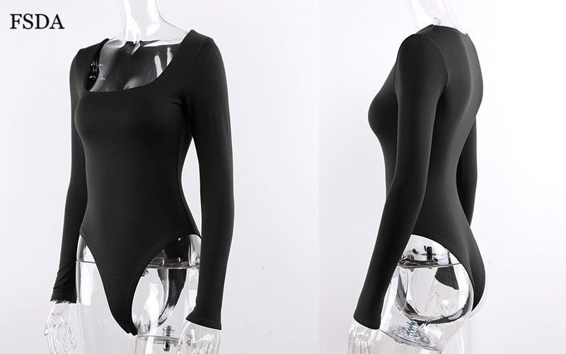 Knitted Skinny Bodysuit with Long Sleeve