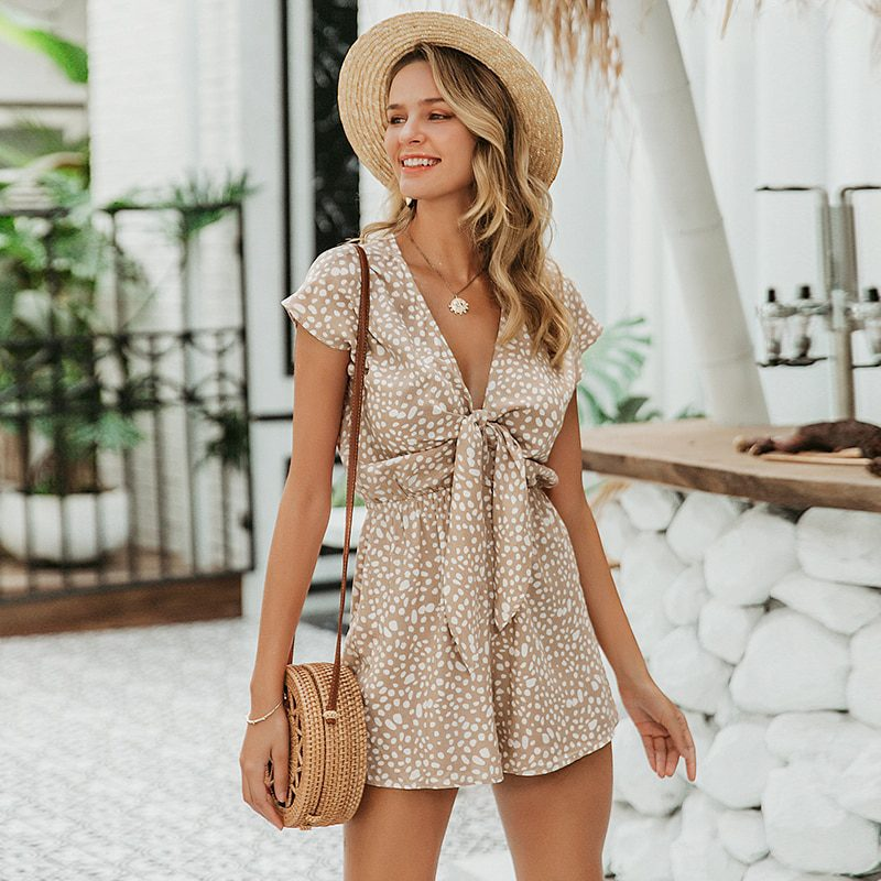 Casual leopard sleeveless style short rompers