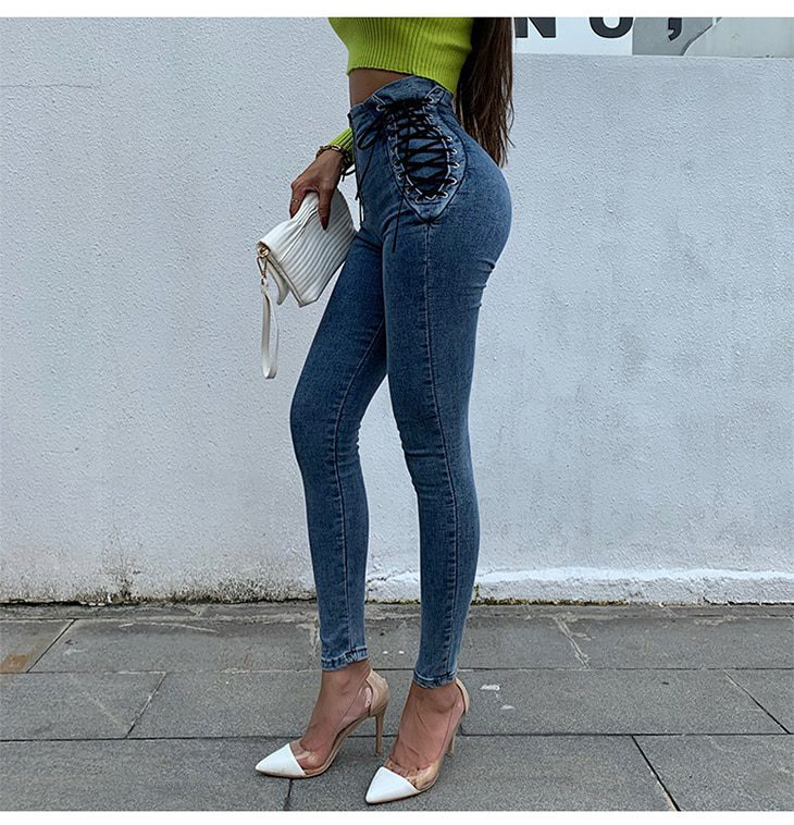 Europe Style High Waist Tight Female Jeans