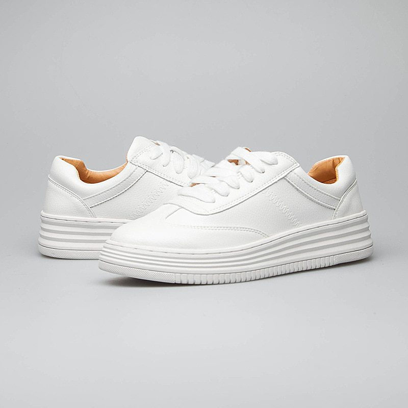 White Split Leather Chunky Platform Sneakers