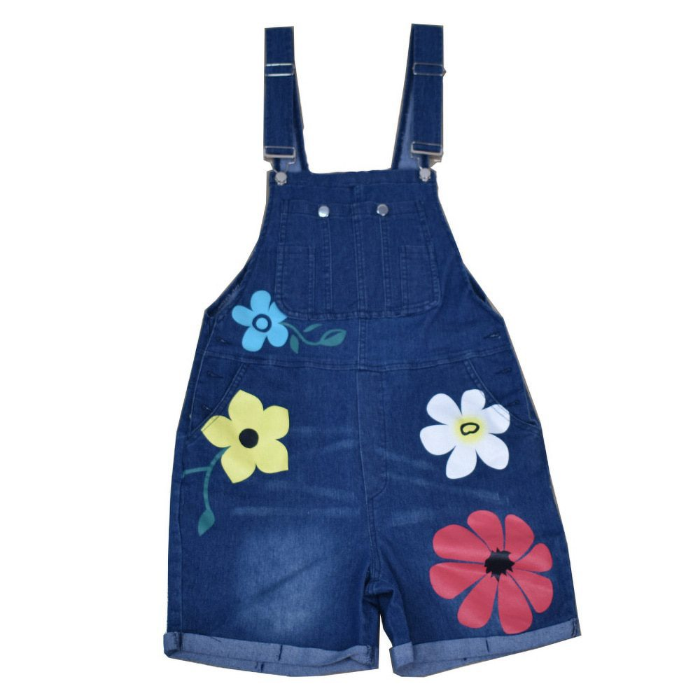 Women Cotton floral pockets Jumpsuit Jeans