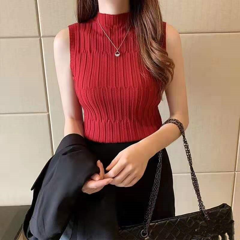 Slim Turtleneck Tank Tops Solid Knitted