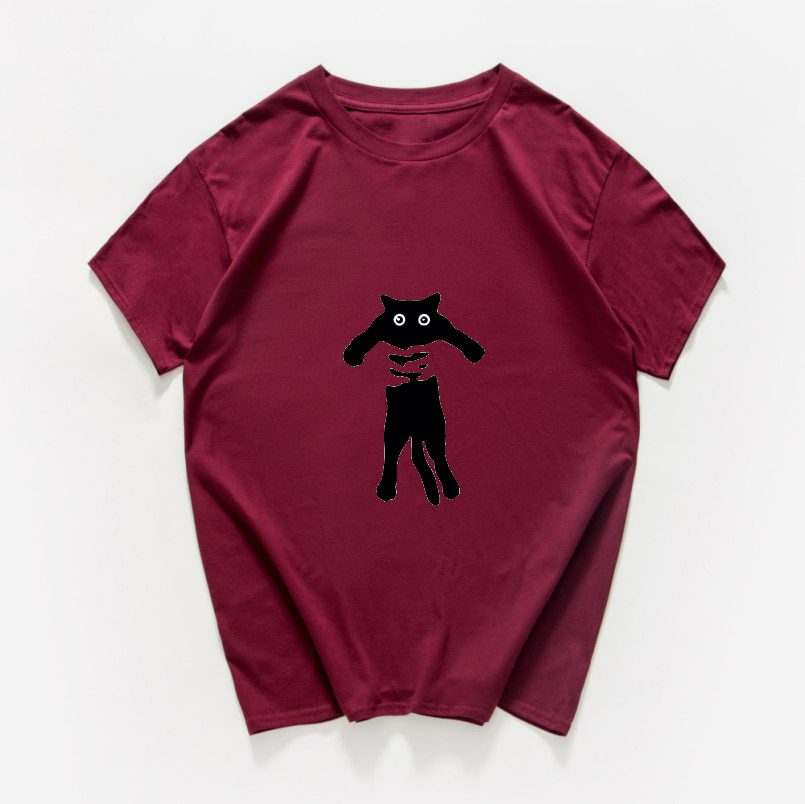 T-shirt funny cat with a knife print