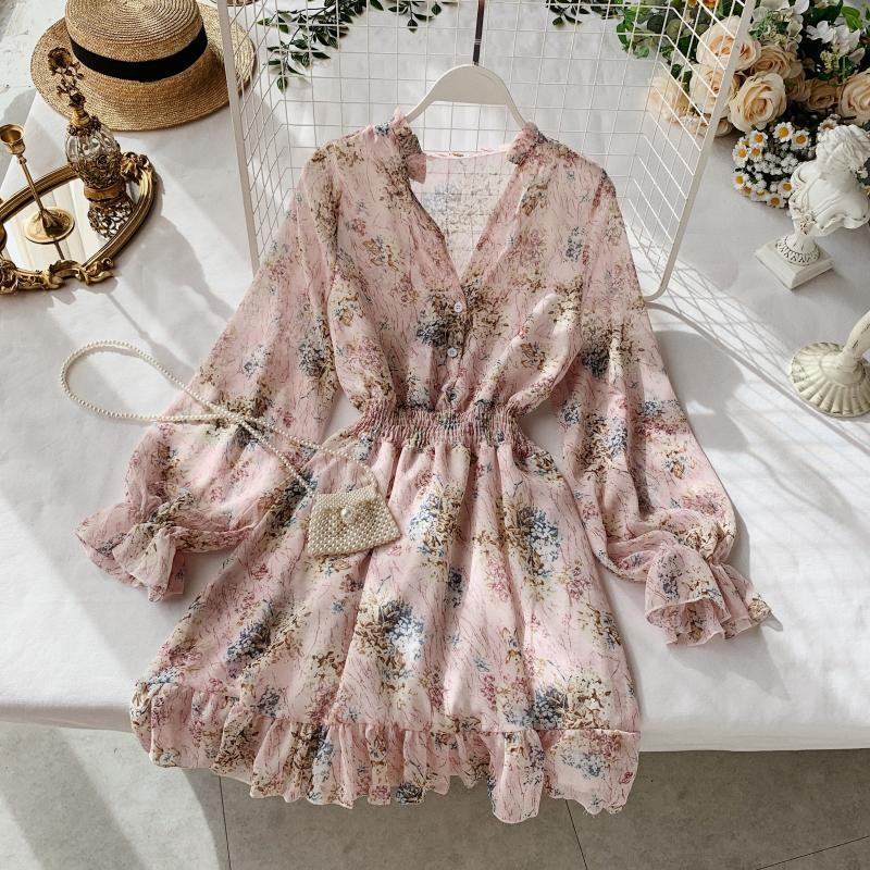 V-neck Long-sleeved chiffon floral French dress
