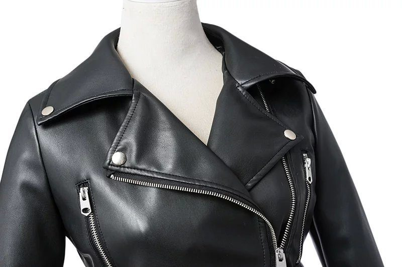 Black Faux Leather Zipper Jackets With Belt