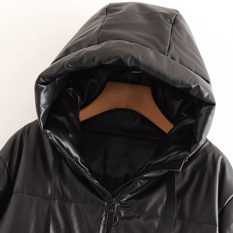 Thick Warm Faux Leather Padded Coat