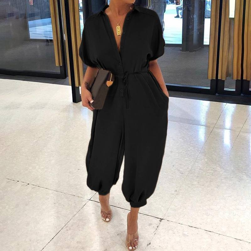Casual Fashion Short Sleeve Plus Size Jumpsuits