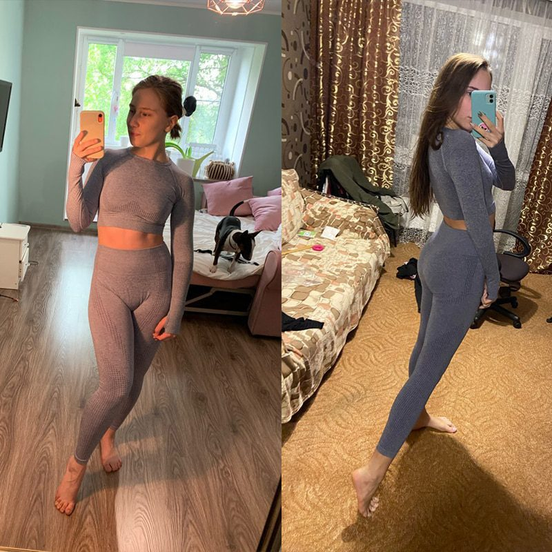 Seamless Fitness Sports Set Leggings Suits