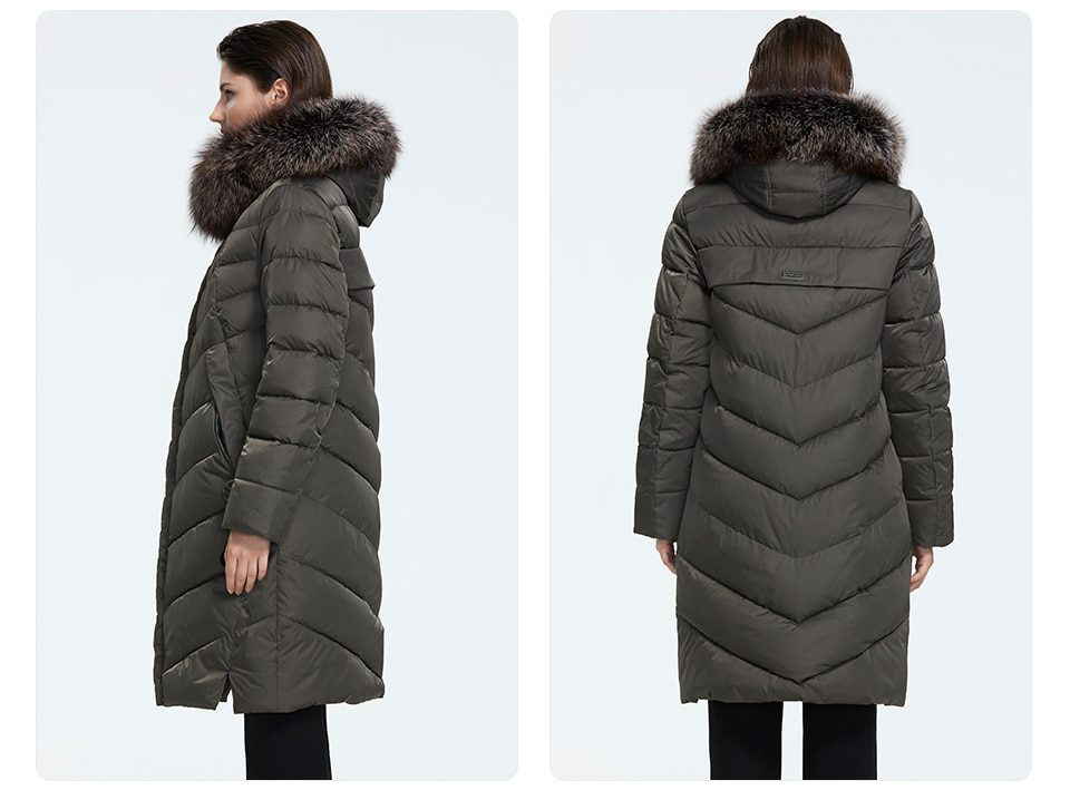 Winter Down collared coat with a fur