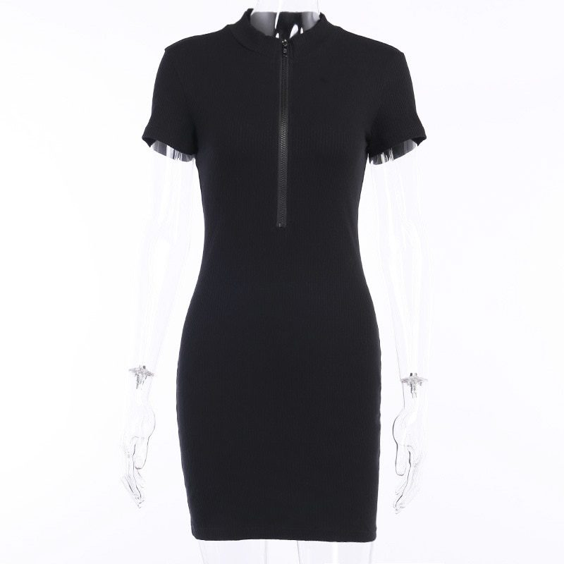 Stretchy Short Sleeve Party With Zipper Mini Dress
