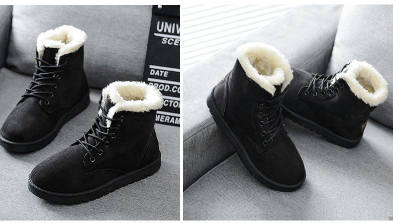 Flat Plus Size Flock Fur Winter Snow Boots