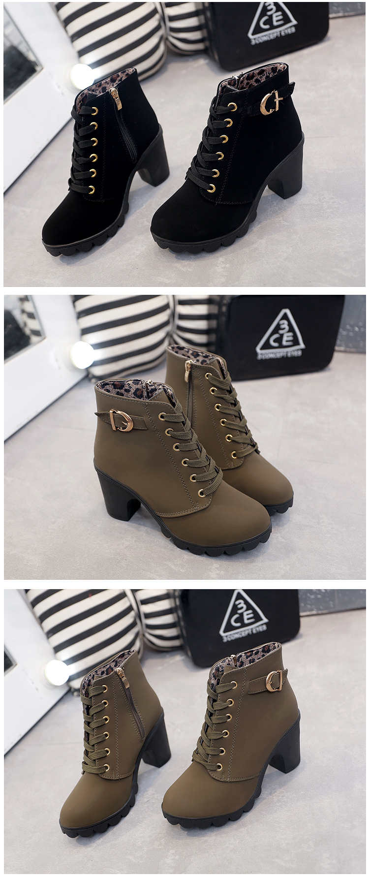 Plus Size High Heels Ankle Snow Warm Boots