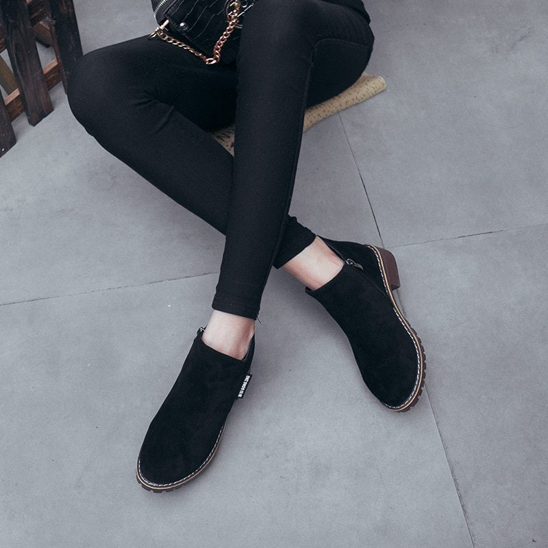 Ankle Heels Martin Leather Boots