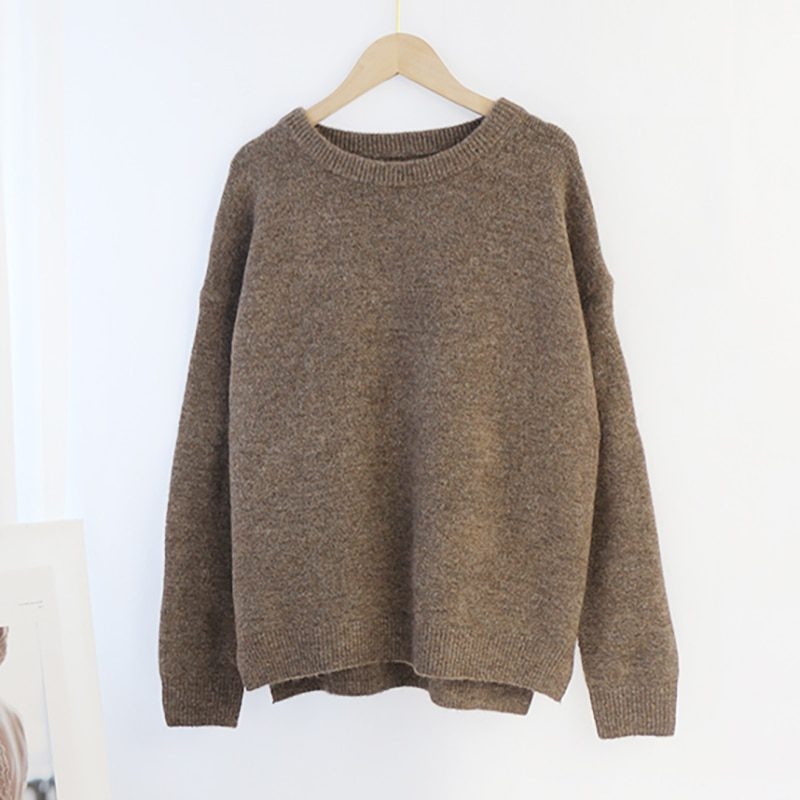 Long Sleeve O-Neck Cashmere Pullover Sweater