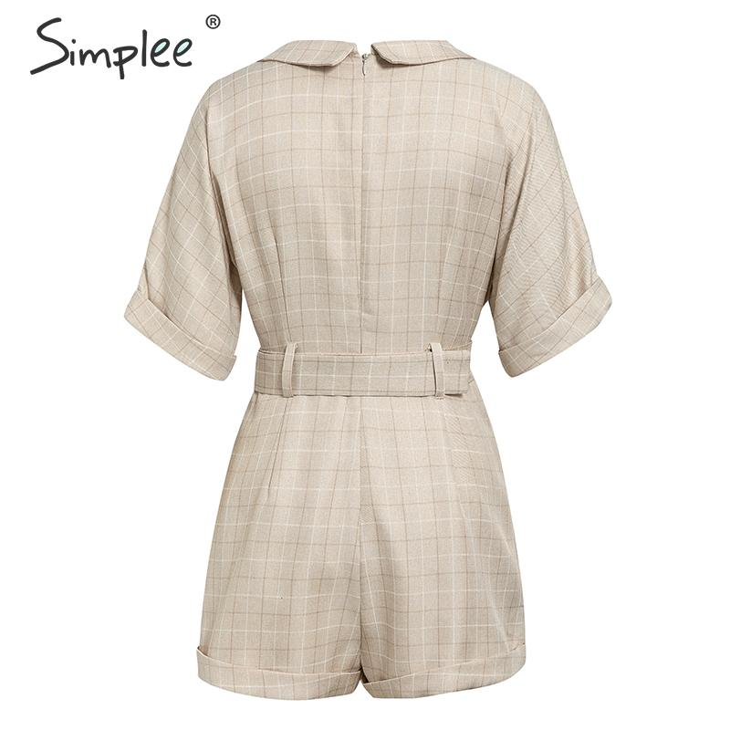 Simplee Classic plaid sash belt women playsuit Casual v-neck buttons streetwear female playsuits Office ladies short jumpsuits