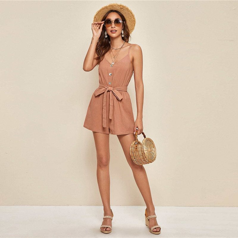 High Waist Wide Leg Sleeveless Rompers
