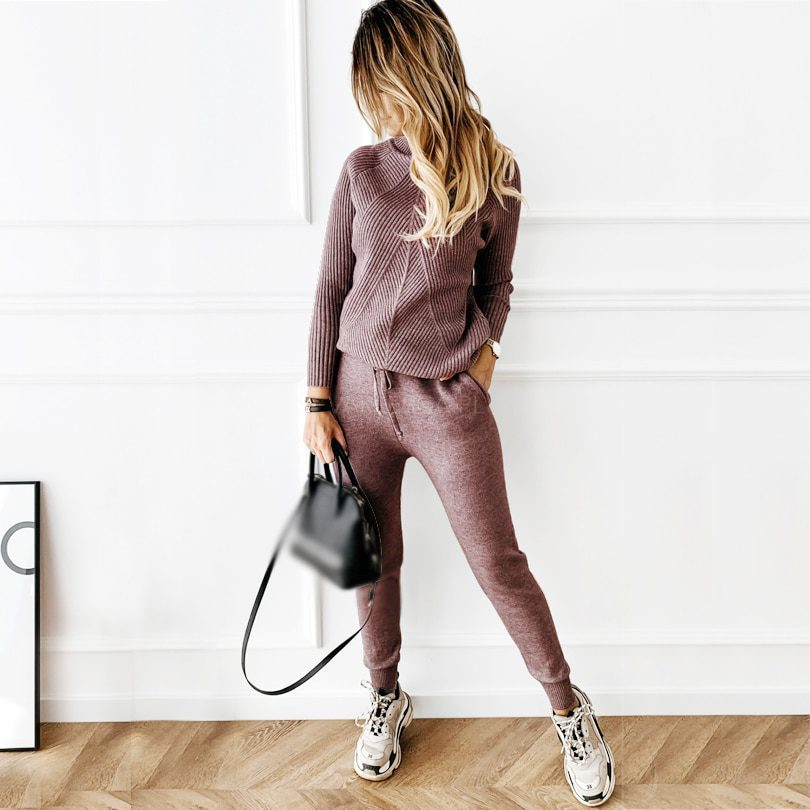 Two Piece Set Of Knitted Striped Turtleneck Sweater and Pants