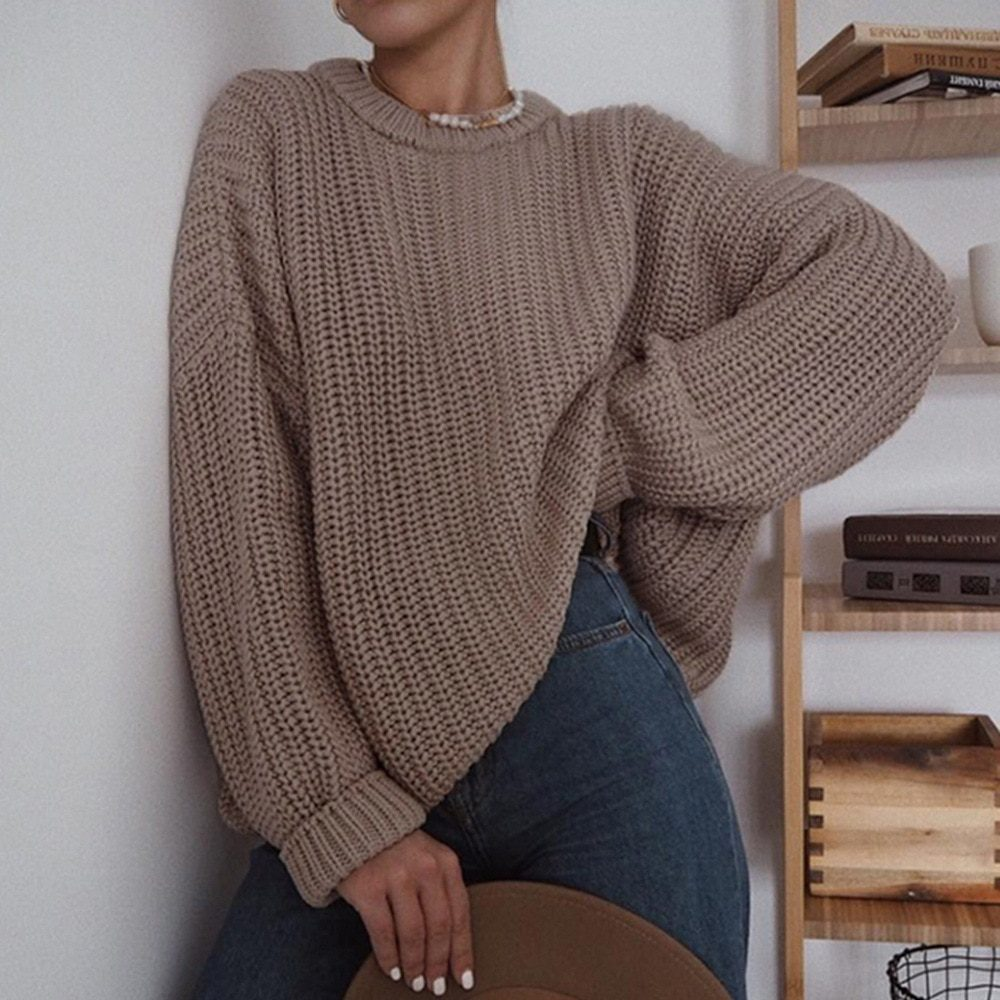 Elegant Long Sleeve O-neck Loose Knitted Sweater