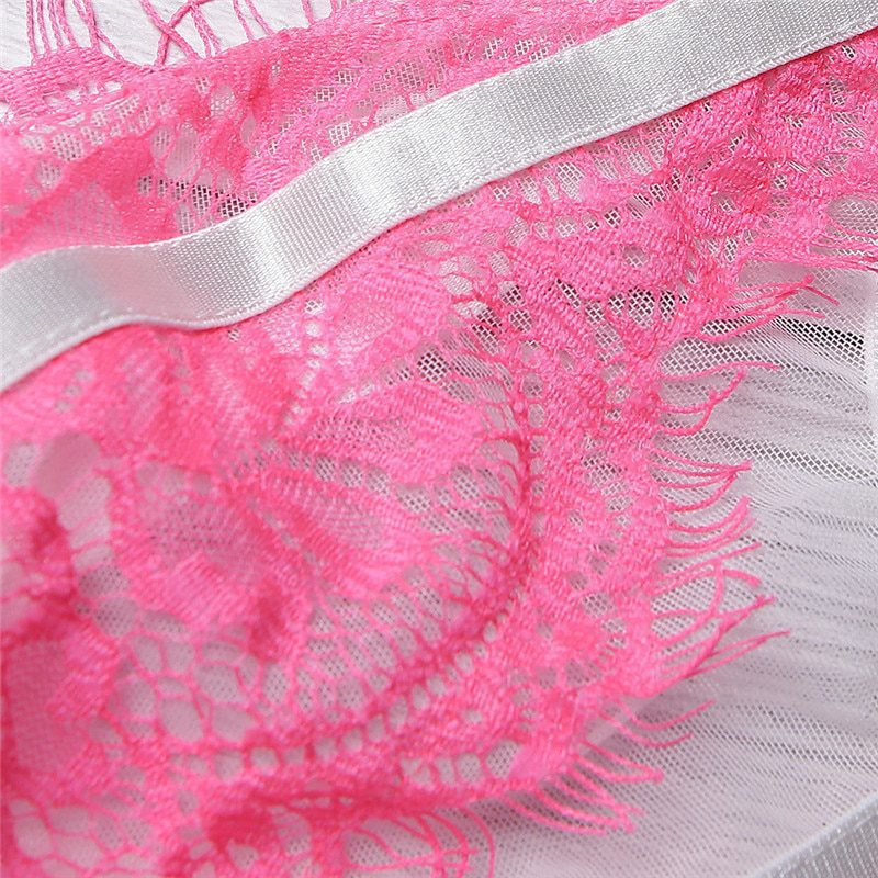 Black and Pink Lace Ultra-thin Push Up Underwear Set