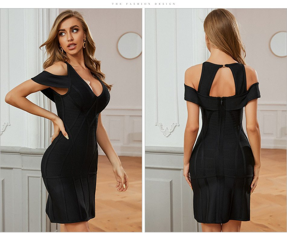 Adyce New Summer Off Shoulder V Neck Black Mini Bandage Dress Sexy Women Hollow Out Bodycon Club Celebrity Party Runway Dresses