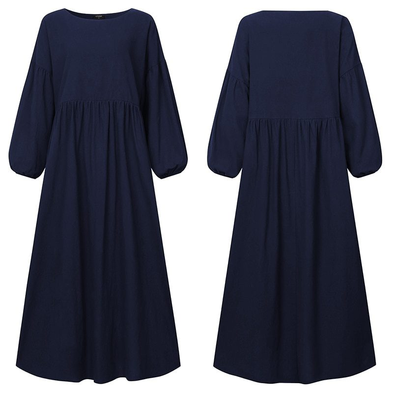 Pleated Casual Loose Party Long Sleeve Dress