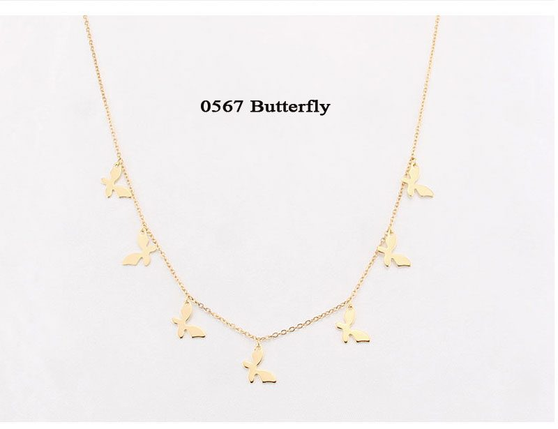 Stainless Steel Butterfly Pendants Stars Gold Choker Necklaces
