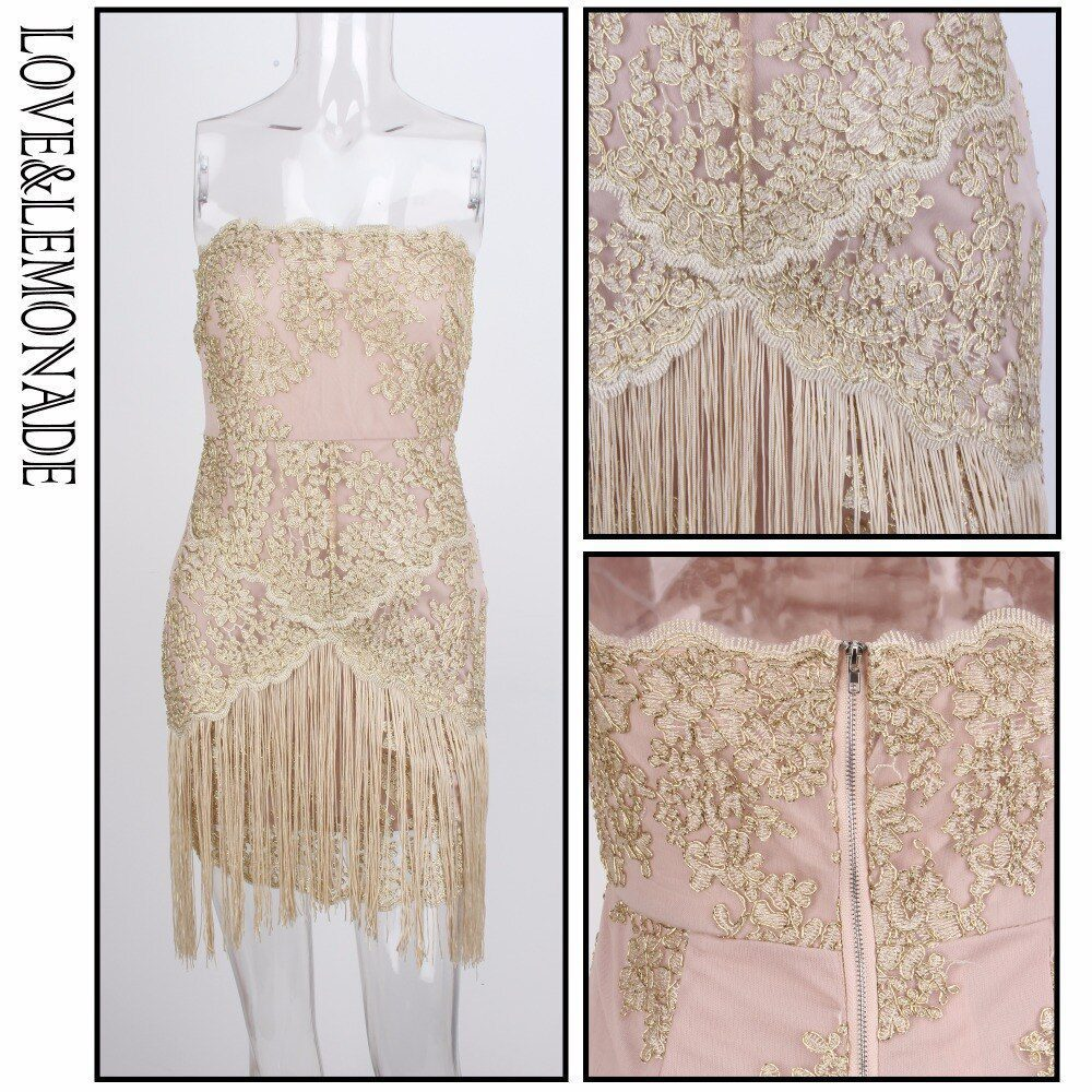 Brassieres Tassel Fringed Lace Mini Dress